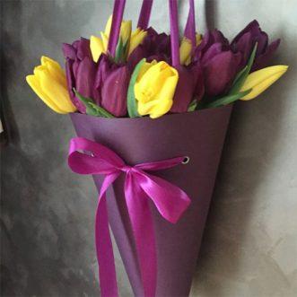 Фиолетовые и желтые тюльпаны в конусе «Калифорния»