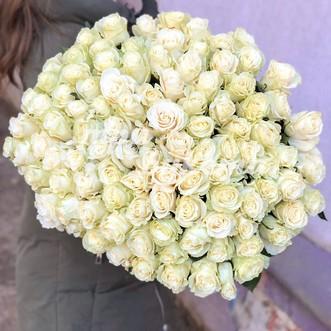 101 белая роза 60 см.