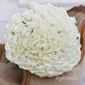 101 белая роза (Premium) 70 см.