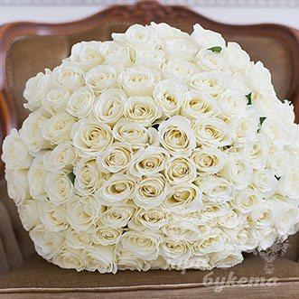 101 белая роза (Premium) 80 см.