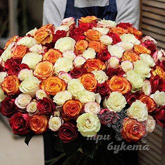 101 разноцветная роза (Premium) 80 см.