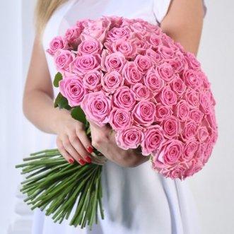 101 розовая роза 40 см.