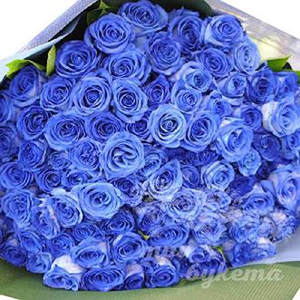 101 синяя роза в крафте (Premium)