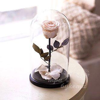 Кремовая роза в колбе 26 см